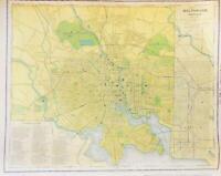 Antique Original 1891 Map Baltimore Maryland - Roads Railroads & Streetcar Lines