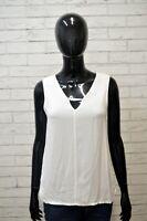 MASSIMO DUTTI Donna Taglia M Blusa Maglia Camicetta Shirt Women's Cotone Bianco