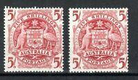 Australia 1949 and 1951 5s Commonwealth Coat of Arms ordinary and thin paper MNH