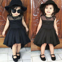 Toddler Baby Girls Kids Summer Sleeveless Solid Party Princess Dress Clothes