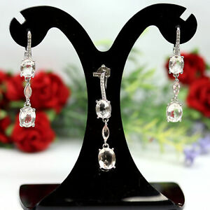 NATURAL LIGHT PINK MORGANITE, SAPPHIRE & CZ EARRINGS WITH PENDANT 925 SILVER