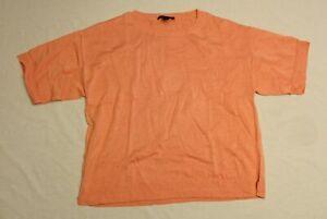 Ann Taylor Women's Linen Blend Short Sleeve Sweater CD4 Shrimp Medium NWT