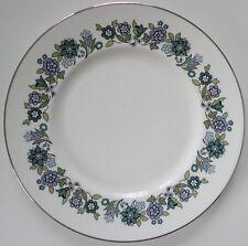 "Royal Doulton Esprit Blue Florals on White w/ Silver Trim Dinner 10 5/8"" Plate"