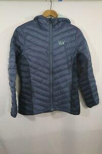 Women's Mountain Hardwear 650 Q Shield Down Blue Zip Hooded Puffer Jacket Sz M