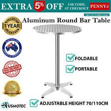 Aluminium Adjustable Steel Round Table Outdoor Indoor Cafe Bar Yard Steel Silver