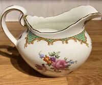 Vintage Aynsley Bone China Milk Jug Afternoon Tea Floral Pattern Green Gold