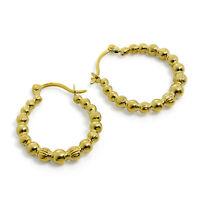 9ct Gold Beaded Creole 12mm Hoop Earrings 375 Creoles Bead Hoops