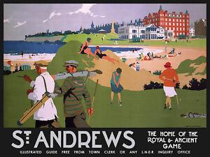 St Andrews Golf (black border) large steel sign 400mm x 300mm (og) REDUCED