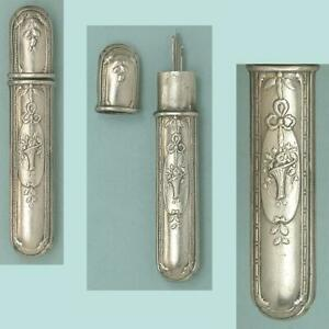 Antique Silver Plated Flower Basket Needle Case * French * Circa 1900s