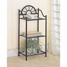 Plant Phone Stand Corner Table Black Wrought Iron 3 Tier Home Decor Book  Rack