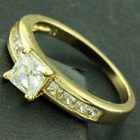 RING REAL 18K YELLOW G/F GOLD GENUINE DIAMOND SIMULATED ENGAGEMENT DESIGN