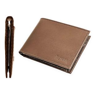 Rolfs Men's Wallet Premium Leather with Card Holder Minimalist Brown Bifold