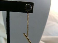 Vintage Onyx Gold Tone Prong Set Tie Tac and Chain