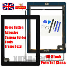 Black For iPad 2 Screen Touch Digitizer Replacement Mid Frame Bezel Home Button