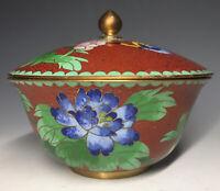 20th C. Vintage Chinese Red Enamel Cloisonne Lidded Shallow Jar Box