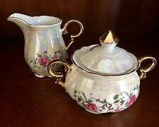 Antique Sugar Bowl and Creamer Iridescent Pink Roses with Gold Trim