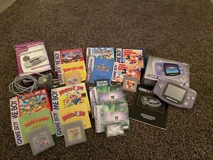 Game Boy Advance (AGB-001) - Glacier - With 6 games all with boxes and manuals