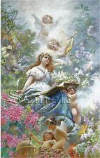 CANVAS ART CUPIDS ANGELS MAIDEN MUSIC POETRY BOOK FLOWER GARDEN VINTAGE PRINT