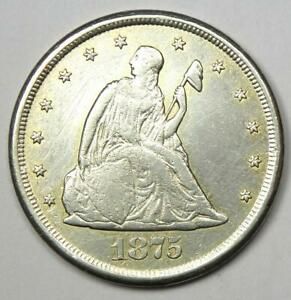 1875-CC Twenty Cent Coin 20C - VF / XF Detail - Rare Carson City Coin!