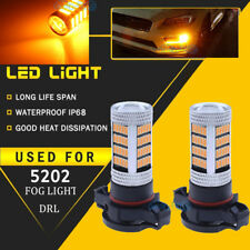 2x 5202 PS24WFF 92smd-4014 LED Fog Light DRL Replacement Bulbs 1800LM Amber