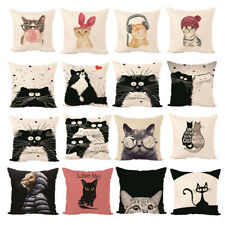 Cat Animal Cotton Pillow Case Sofa Waist Throw Cushion Cover Decor Car Home NEW
