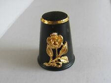 BEAUTIFUL GOLD ROSE BLACK ENAMEL THIMBLE - FELIX MOREL -  MINT