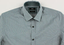 Men's HUGO BOSS Ecru Black Green LOK Shirt 2XL XXL NWT NEW $145+ Nice!