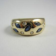 Modischer Ring aus Gelbgold 585 mit Saphiren und Brillanten