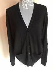 Equorian Womens Cardigan Size 14-16 Black Lambs Wool With Buttons Pockets