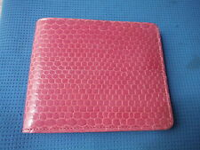 Real Genuino 100% cuero Rosa piel de serpiente de mar hombre Unisex Damas Bi-Fold Wallet