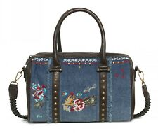 Desigual Bols Malta Jade Handtasche Umhängetasche Tasche Jeans Braun Blau Neu