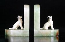 More details for vintage art deco dog bookends marble and spelter circa 1930