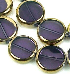 14mm Czech Glass Electroplated Amethyst & Gold Window Cut Disc Beads (11)