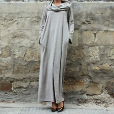 Fashion Grey Sexy Hot Off Shoulder Hooded Shirt Maxi Long Party Cocktail Dress