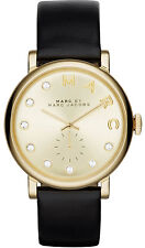 Marc Jacobs MBM1399 Baker Gold Dial Black Leather Strap Women's Watch