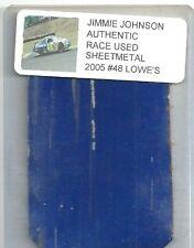 JIMMIE JOHNSON NASCAR RACE USED SHEET METAL 2005 LOWES CAR PIECE JJ 2