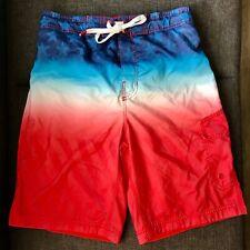 SPEEDO Red White Blue American Flag Stars Board Shorts Swim Trunks Men's Small