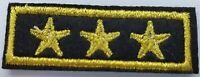 1 x 3 Gold Stars (Bar) Iron on Sew On Patches Military General Style