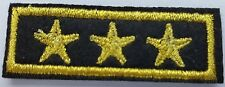 1 x 3 Gold Stars Iron on Sew On Patches Military General Style