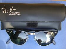 VINTAGE B&L RAY BAN CLUBMASTER BLACK W0365 49 MM - NEW WITH G-15 LENSES