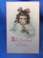 c. 1910 Antique Original CANDLESTICK TELEPHONE Sweetheart VALENTINE Postcard