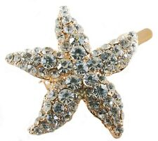 Magnet Hair Clip use Swarovski Crystal Hairpin Starfish Seastar Mermaid Gold