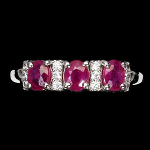 Oval Red Ruby 5x4mm Cz 14K White Gold Plate 925 Sterling Silver Ring Size 7.5