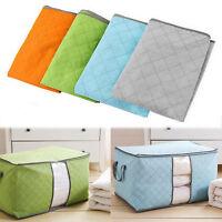 Folding Charcoal Bamboo Clothes Storage Box Bag Blanket Closet Organizer:)