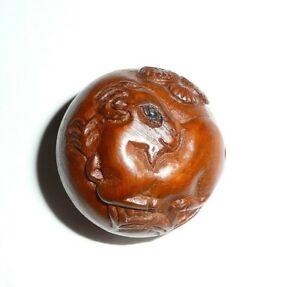 "Wonderful RAM Sheep Round Boxwood Shank Button - Approx. 1"" diameter"