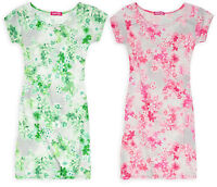 Girls Floral Print Midi Bodycon Dress Kids Pink Green Dresses New Age 7-13 Years