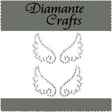 2 x 33mm Clear Diamante Angel Wings Self Adhesive Rhinestone Vajazzle Body Art