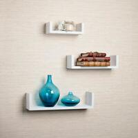NEW Danya B White Floating 'U' Shaped Laminated Shelves (Set of 3)