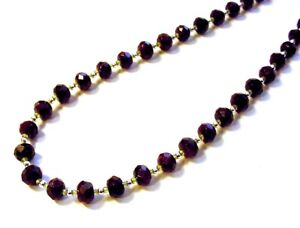 """Beautiful 20"""" .925 Sterling Silver 125cttw Faceted Garnet & Peridot Necklace F48"""