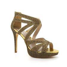Womens Diamante Glitter Strappy Platform Party Sandals Stiletto High Heel Zip UK